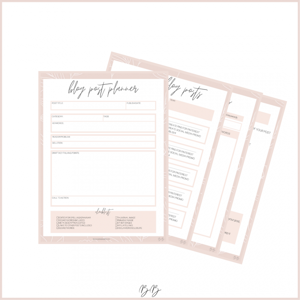 Blogging Babes Printable Blogging Workbook + Planner