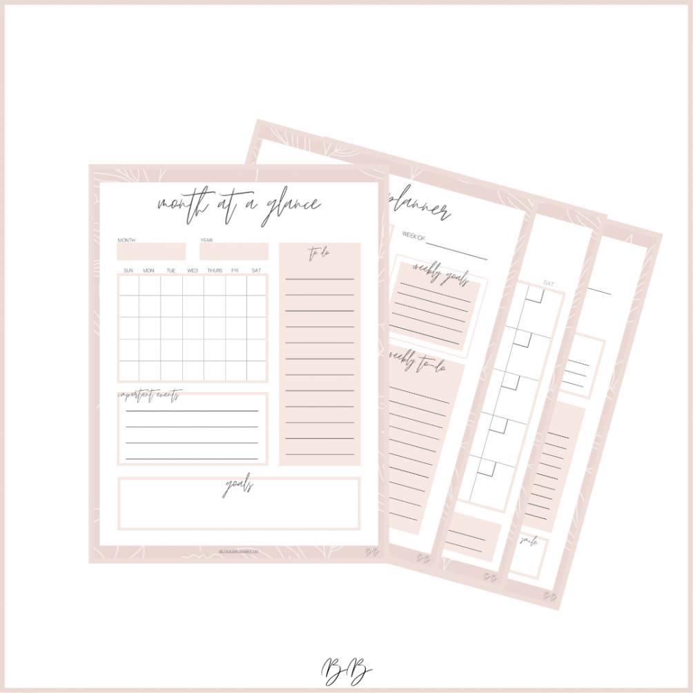Blogging Babes Printable Monthly Planner